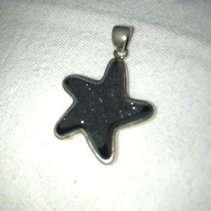 Black drusy quarts starfish